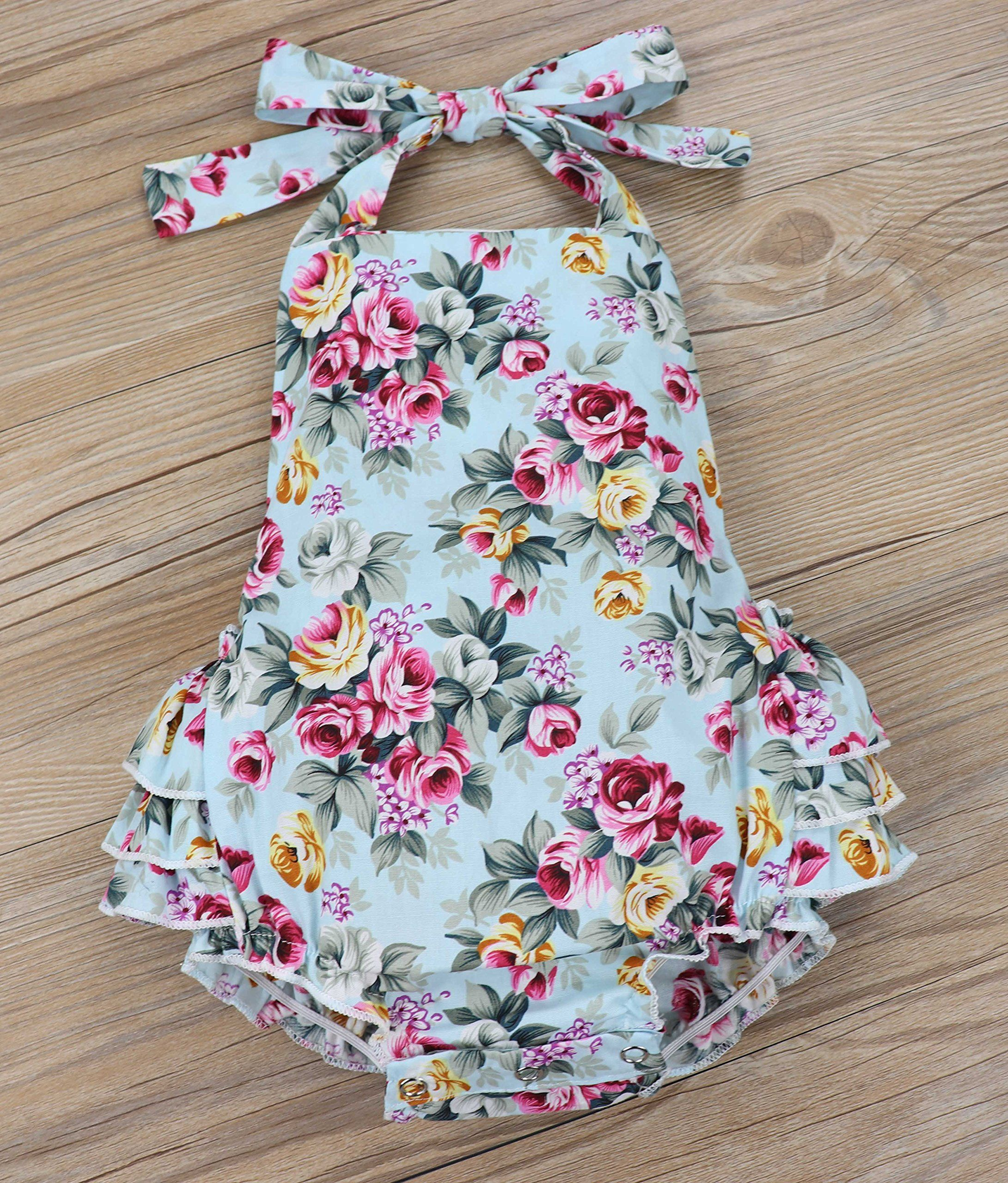 01a71856189 Yiner Baby Girls Floral Print Ruffles Romper Summer Clothes With Bowknot  Headband 1924 Months