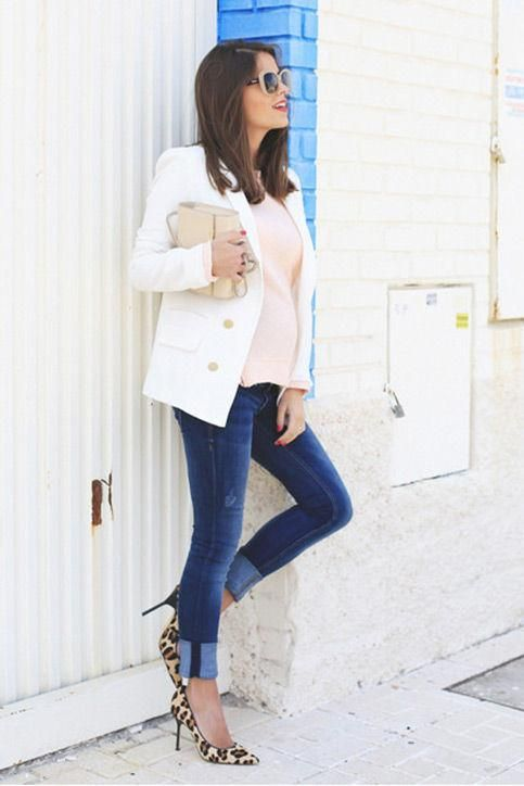 88cc6e6f4ca3 Casual summer work outfit idea: a white blazer, leopard heels, and jeans,  inspired by Seams for a Desire