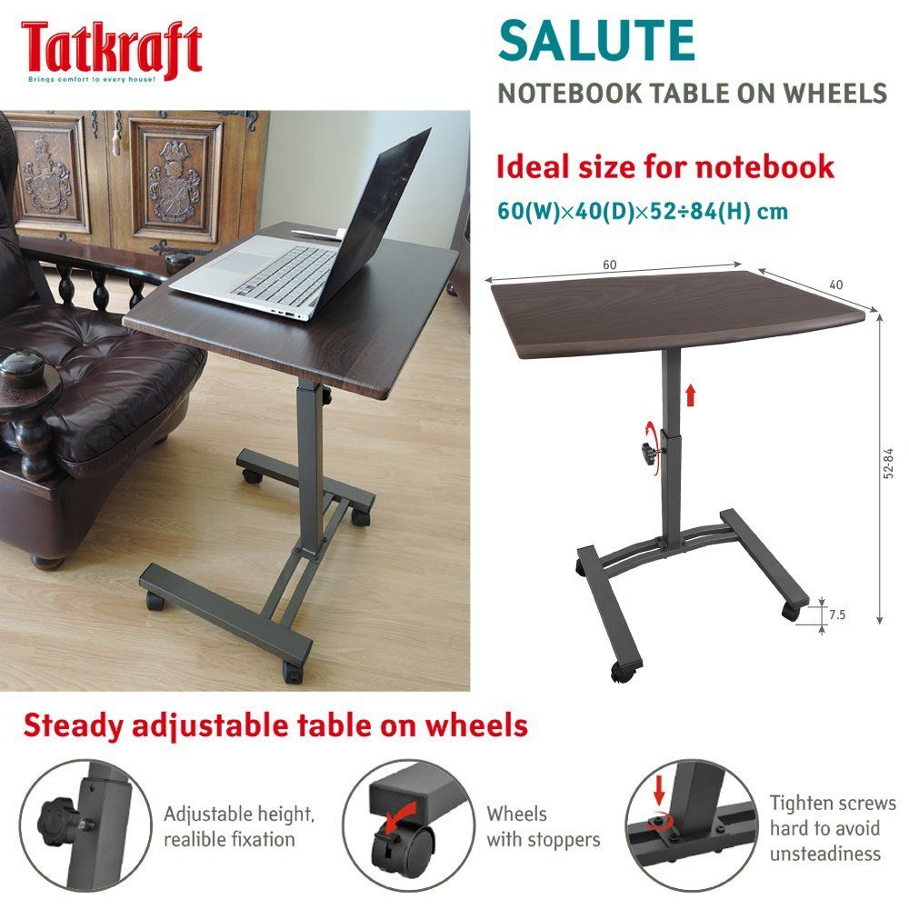 Amazon.com: Tatkraft Salute Laptop Desk Cart Computer Stand With Adjustable  Top And Casters