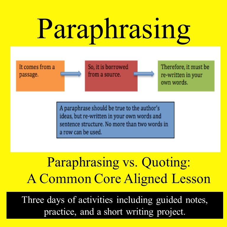 Paraphrasing Versu Quoting Paraphrase Common Core State Standard Udl Lesson Plans A Paraphrased Passage Must Be Cited