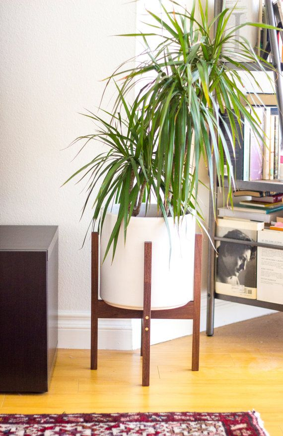 Medium Mid Century Modern Planter Stand With 10 Ceramic Walnut