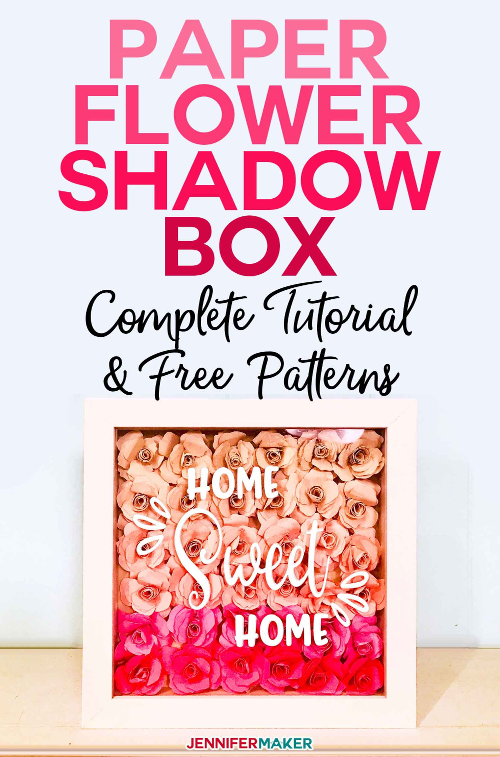 Paper Flower Shadow Box with Sizing & Quantity Charts