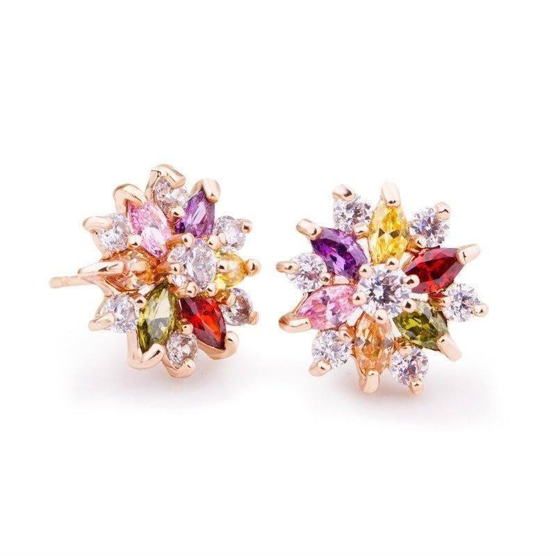 Gold Star Multicolor Zircon Stud Earrings