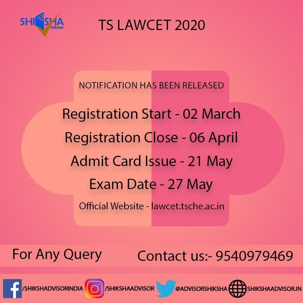 Ts Lawcet 2020 Important Dates Examination Details Law Courses Exam Higher Education