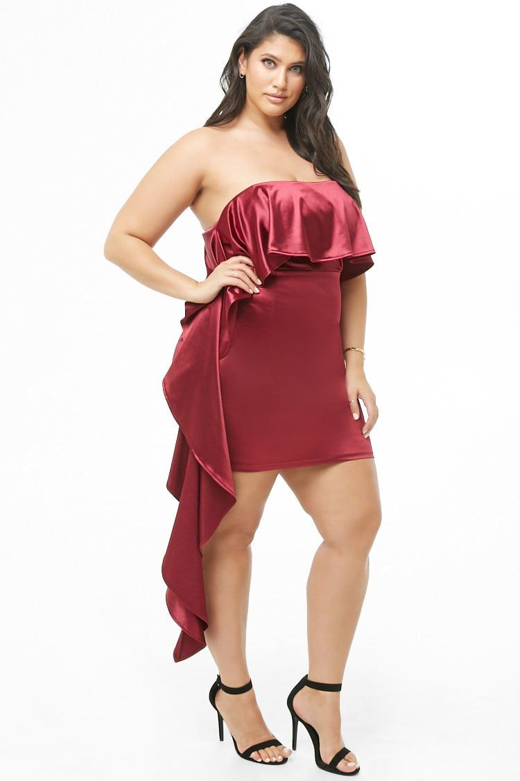576d7dce34 Plus Size Satin Tube Dress in 2019 | Plus size | Dresses, Plus size ...