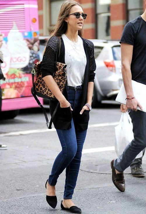 Jessica Alba Wearing Jenni Kayne Dorsay Flats In Black Ray Ban Clubmaster 3016 Sunglasses One Grey Day Aspen Cardigan In Onyx New York City September 8