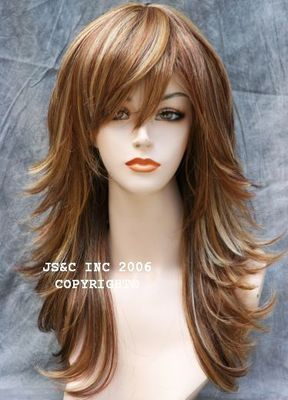 Delectable Mixed Auburn and Blonde Layered Wig. Sexy as can be