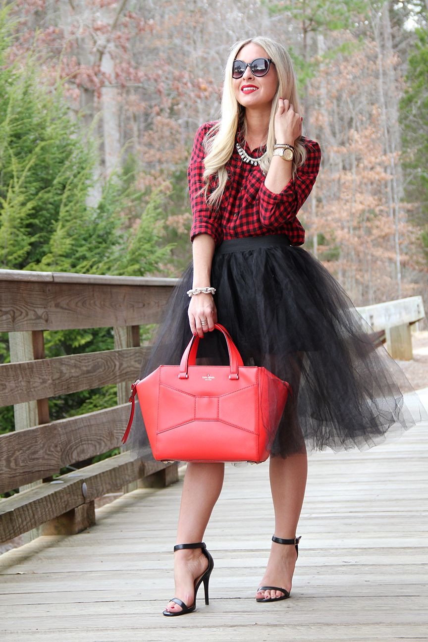 Tulle Skirt and flannel shirt