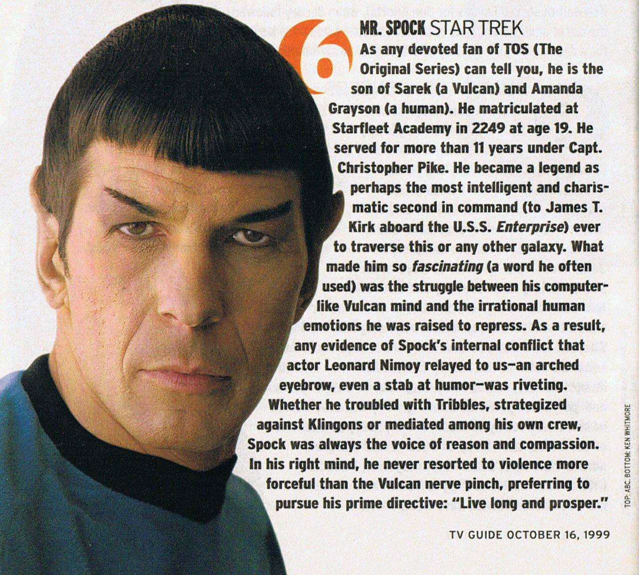 Leonard Nimoy Quotes Leonard Nimoy As Star Trek's Spock In Tv Guide's October 16 1999