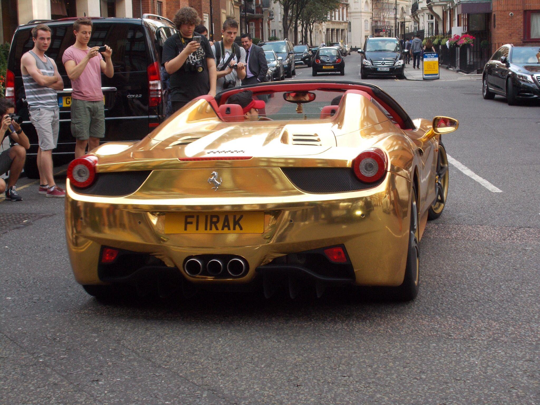 Gold Chrome Ferrari 458 Supercar In London Super Cars Private Number Plates Petrolhead