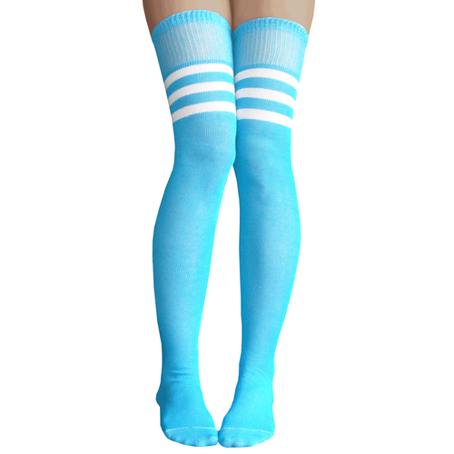 3fb4ba0d254cd Electric Blue athletic striped thigh high socks with white stripes. Made in  USA Chrissy's Socks 877-862-6267