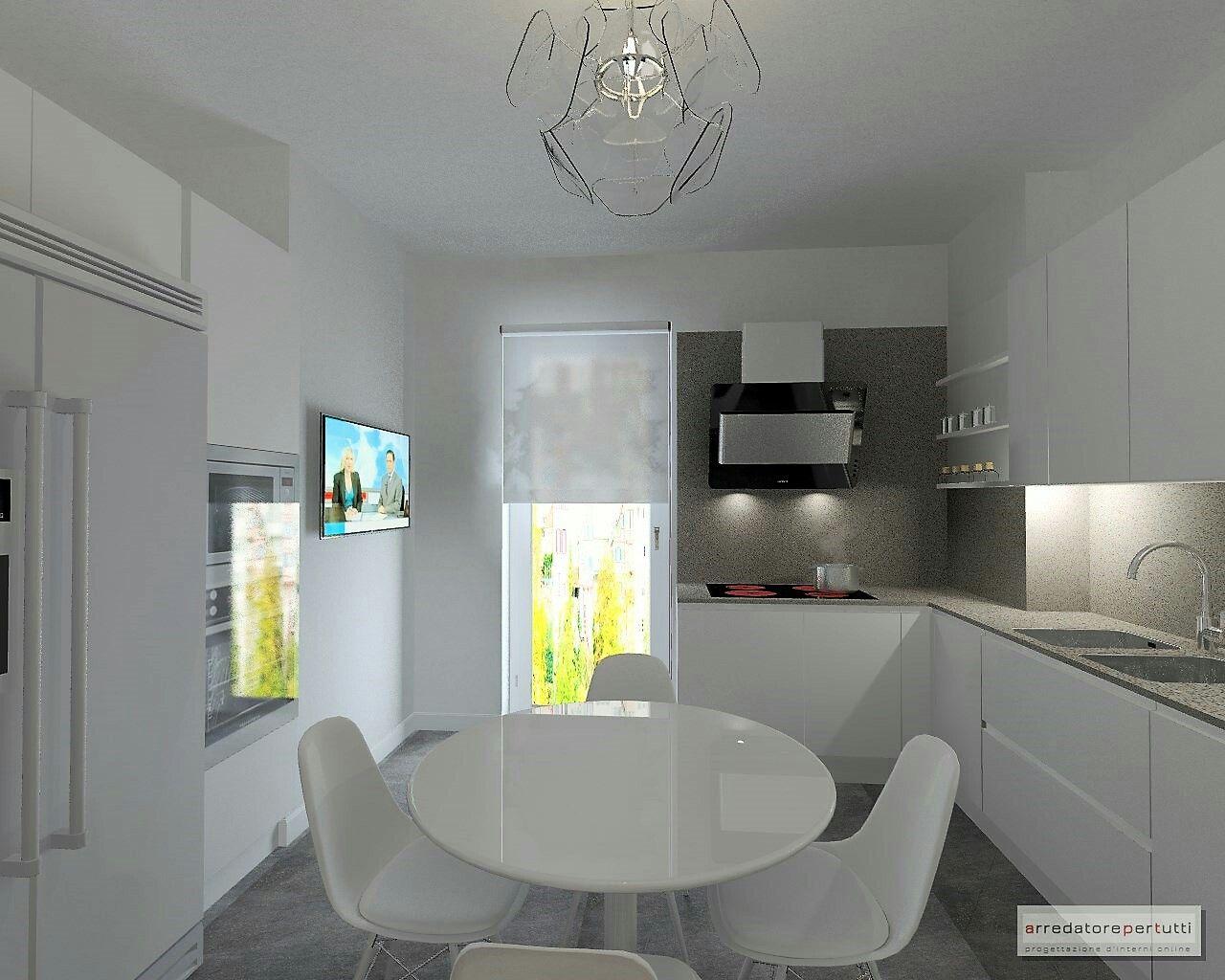 Cucina moderna, cucina bianca, frigorifero americano e ...