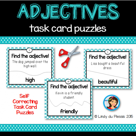 Get this FREE adjectives task card puzzle set from Talented Teaching ...