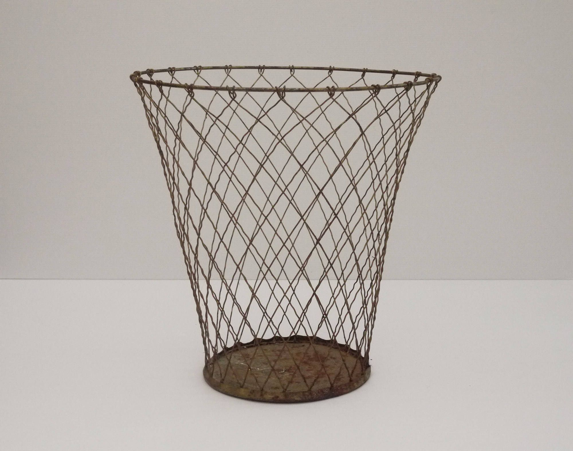 Antique French Wire Mesh Waste Basket, Industrial Metal Trash Can