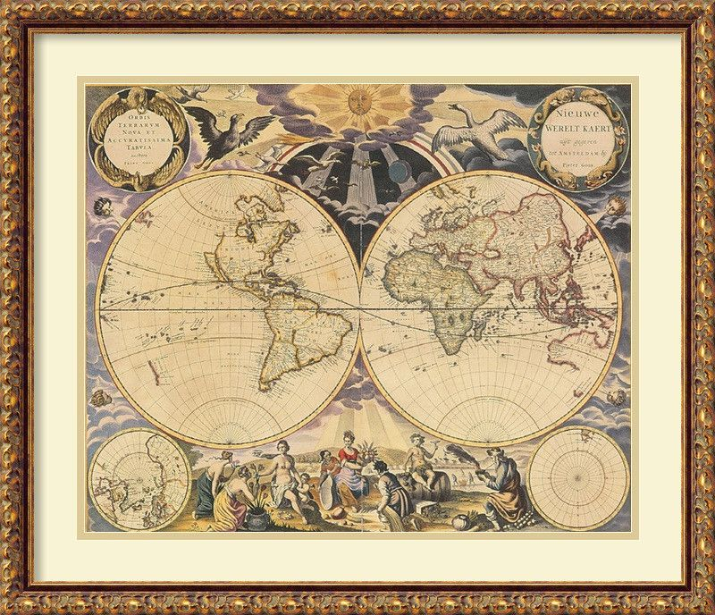 New World Map, 1676 by Pieter Goos Framed Wall Art