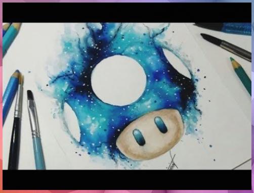speed drawingsupermario  galaxie pilz【aquarela