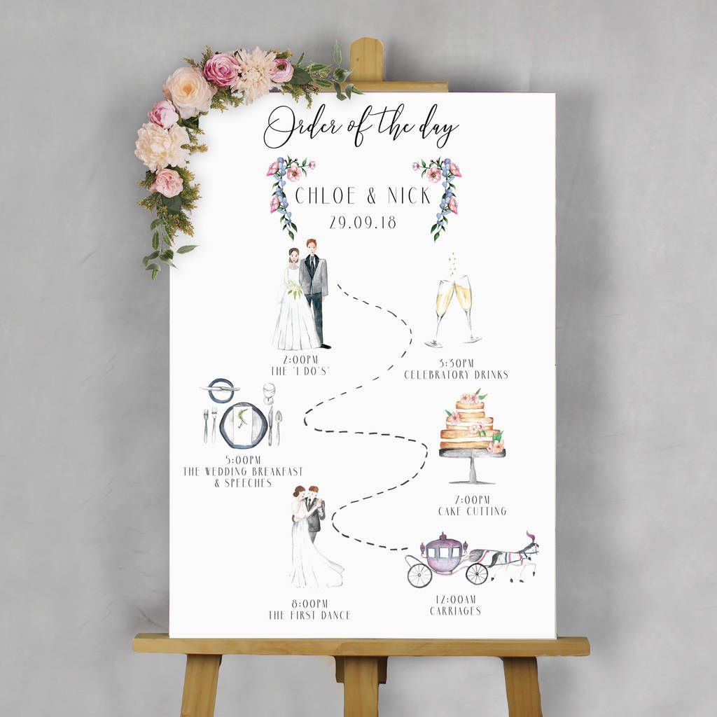 Illustrated Wedding 'Order Of The Day' Sign In 2019