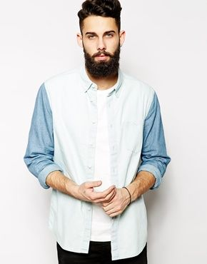 668fdfbd ASOS Shirt In Long Sleeve With Cut And Sew Panel | MEN'S CLOTHING ...