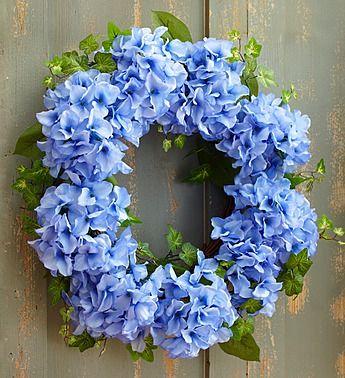 """Faux Blue Hydrangea Wreath - 18"""""""