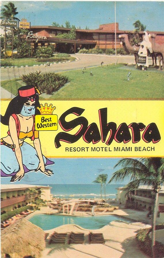 Vintage Florida Postcard Miami Beach Sahara Resort Motel Ocean Collins