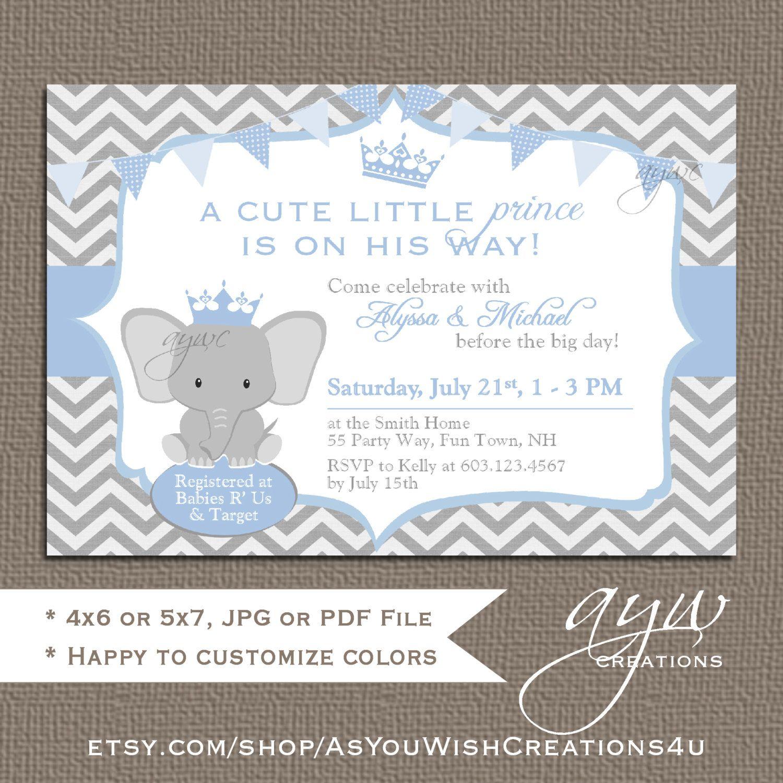 Elephant Baby Shower Invitation Boy Unique Baby Shower Invitation ...