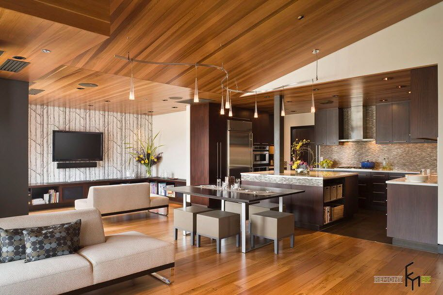 Modern Laminate Wooden Ceiling Design For Contemporary Living House Decoration Fascinating Wooden Ceiling Designs Kuchendesign Moderne Kuche Design Fur Zuhause #wooden #ceiling #design #for #living #room