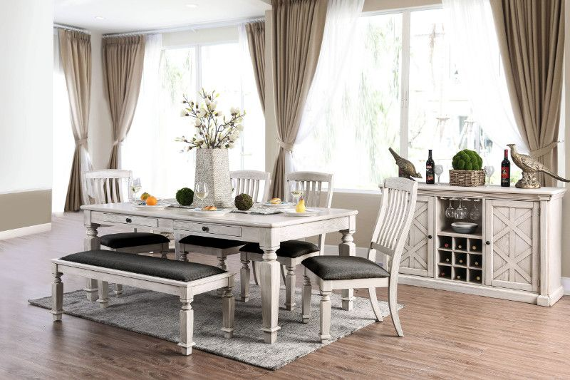 Cm3089t 6pc 6 Pc Ophelia Co Tomas Georgia Antique White Finish Wood Country Dining Table Set Farmhouse Dining Table Rustic Farmhouse Dining Table Country Dining Tables