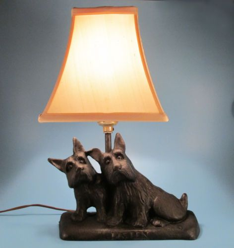 Original 1930s Texaco Listen Cast Iron Scotty Dog Lamp Early