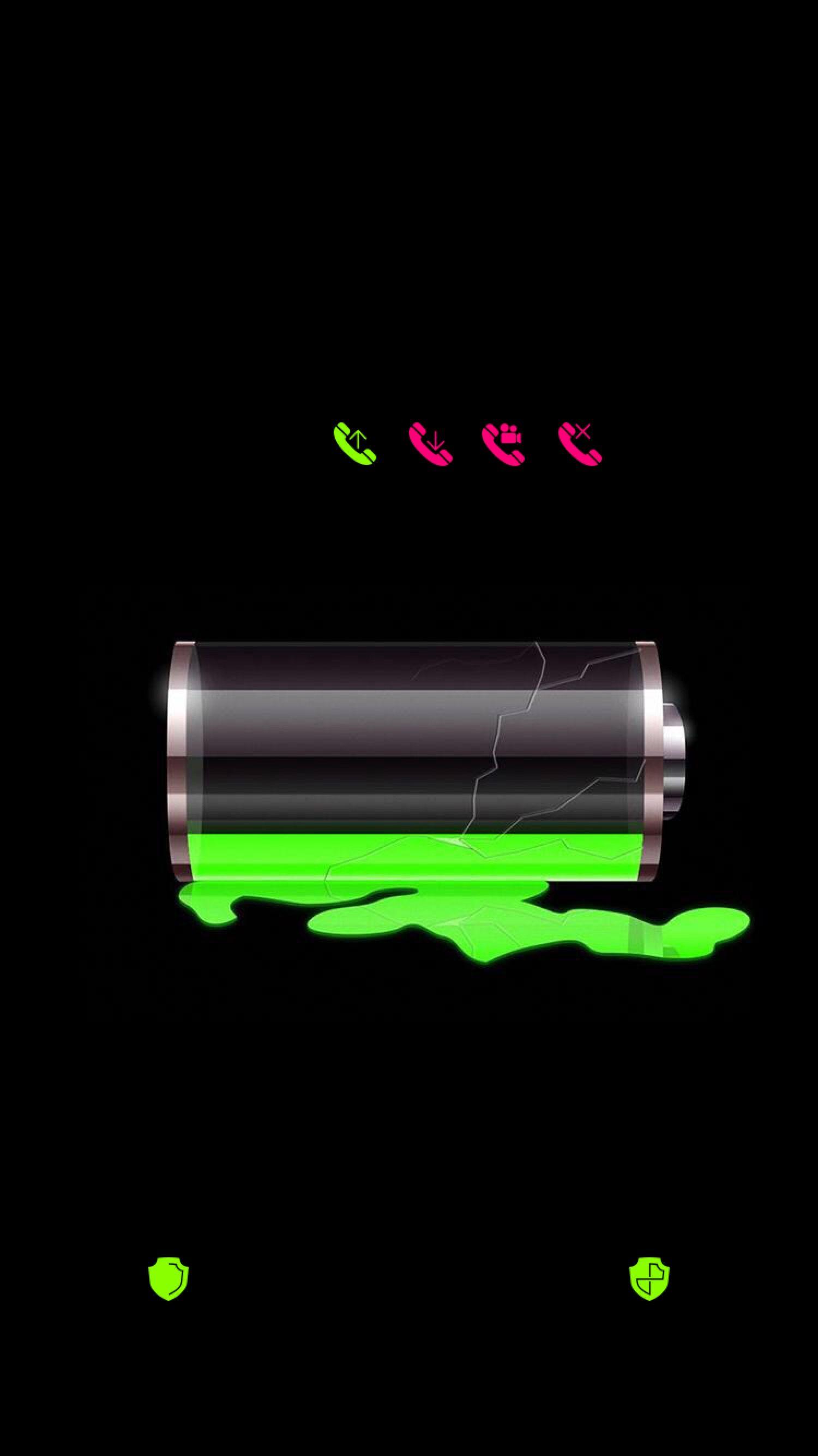 Lockscreens Art Creative Battery Charging Black Green