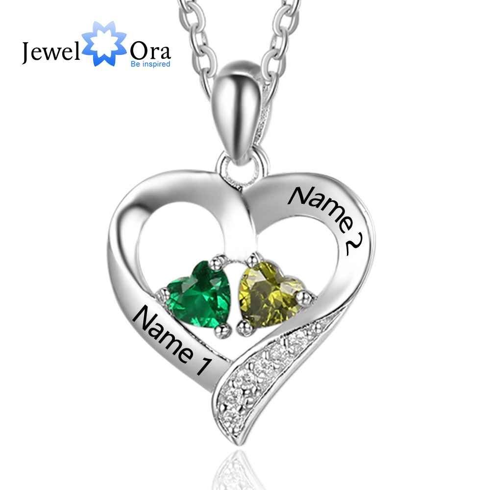 Personalized 925 Sterling Silver 2 Birthstone Necklace Pendants Engraved Heart Birthstones Necklace Mom Gift Jewelora Ne101893 Correntes Semijoias Joias