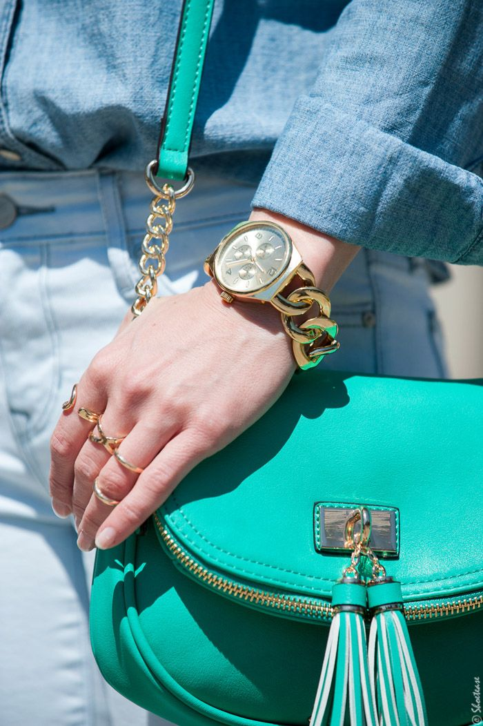 Gold Rings, Chain Wristwatch, Mint Green CrossBody Bag