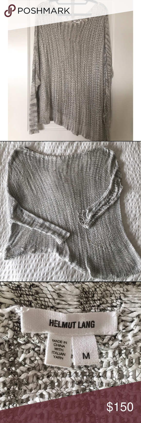 Helmut Lang Oversized Knit Sweater Size Medium Distressed Gray Sweater, So cute I just have to many that look similar! Helmut Lang Sweaters