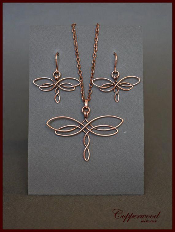 Photo of Copper wire wrapped dragonfly earrings Wire wrap celtic   Etsy