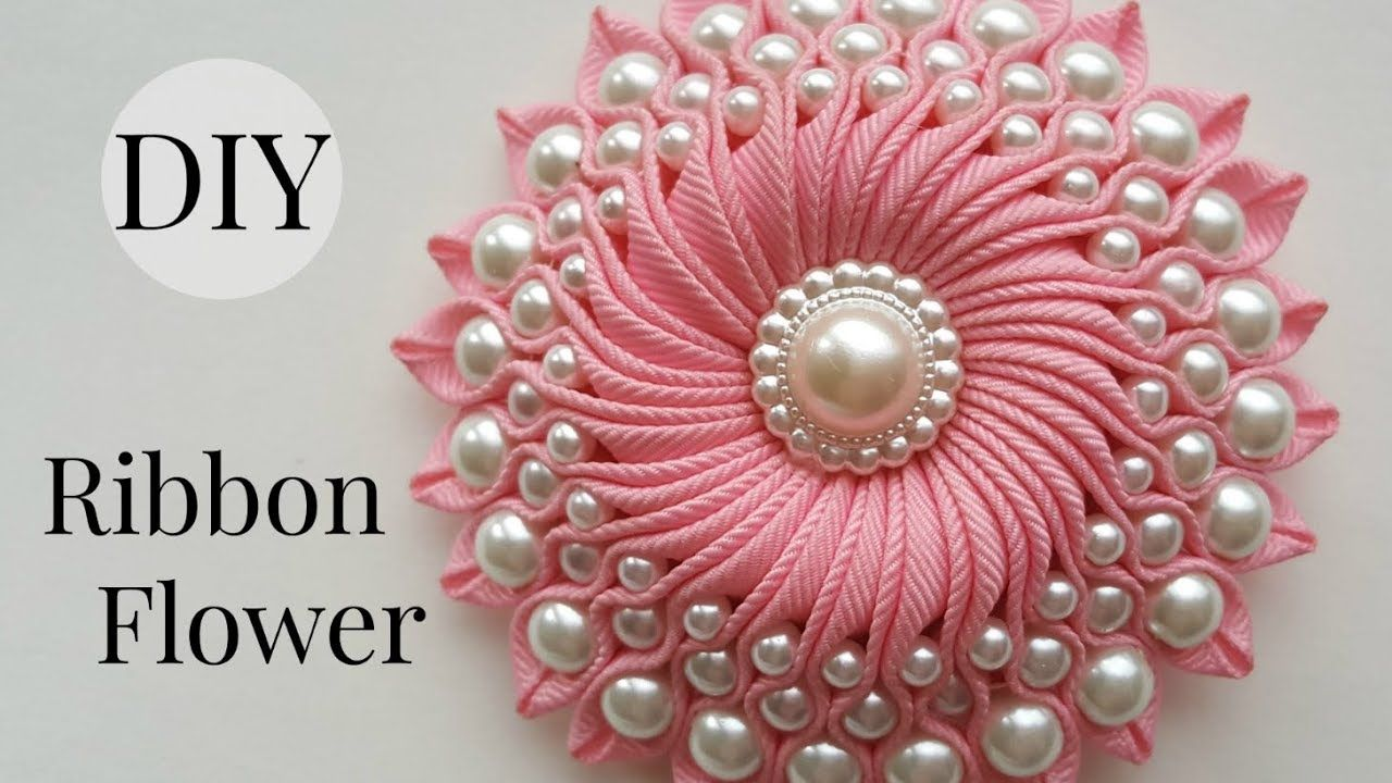 Diy ribbon flower with beads grosgrain flowers with beads tutorial