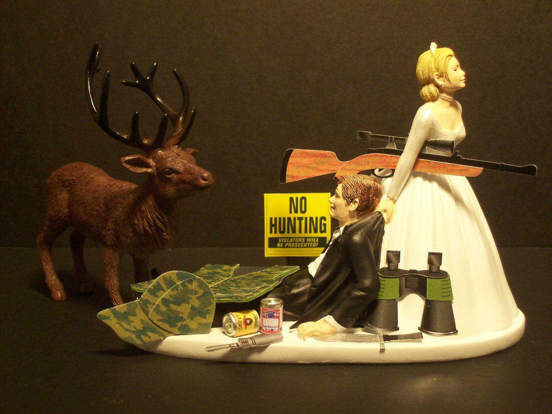 NO HUNTING DEER Bride And Groom Wedding Cake Topper Funny Sport