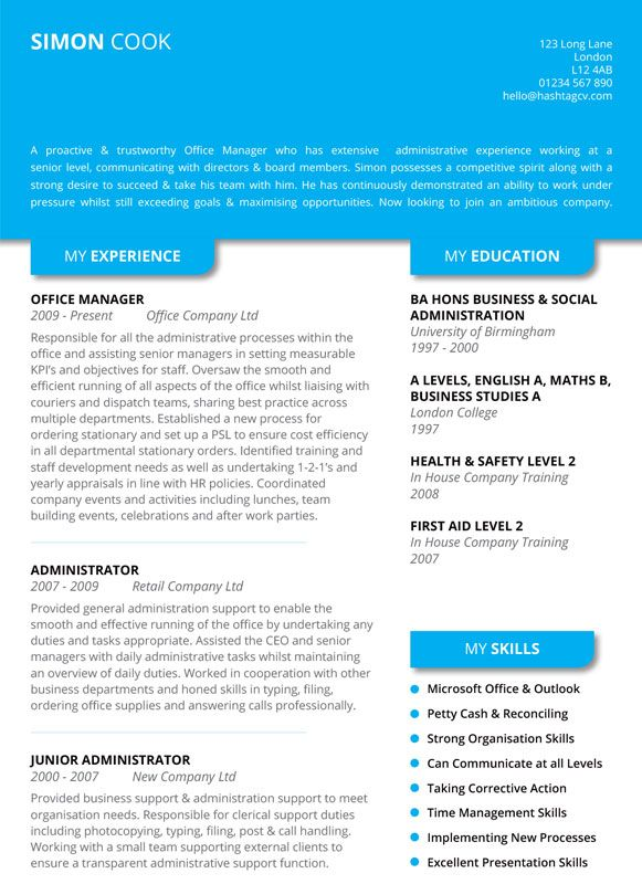 The Shadow CV   Resume Design Blue from Hashtag CV Standout CV - business support manager sample resume
