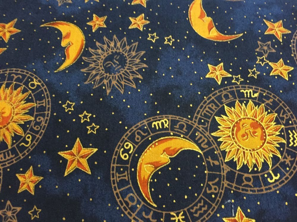 Hoffman dark blue celestials sun moon stars fabric for Celestial pattern fabric