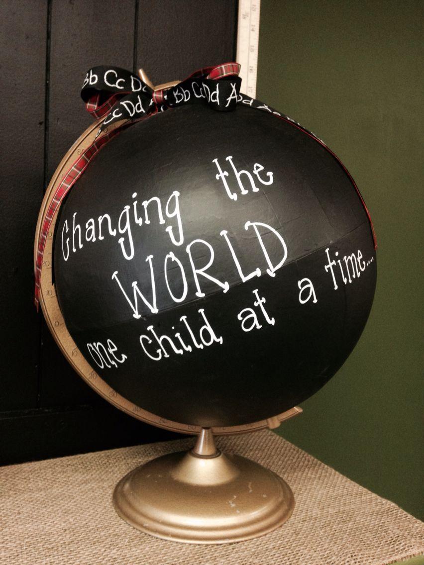 Classroom chalkboard theme painted globe. Diy classroom