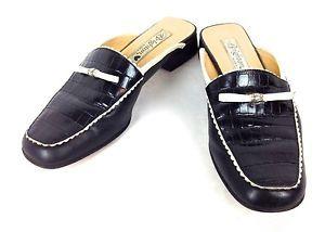 Brighton Shoes Leather Black Itlay Slip on Croc Emb Slides Mules Womens 6 M | eBay