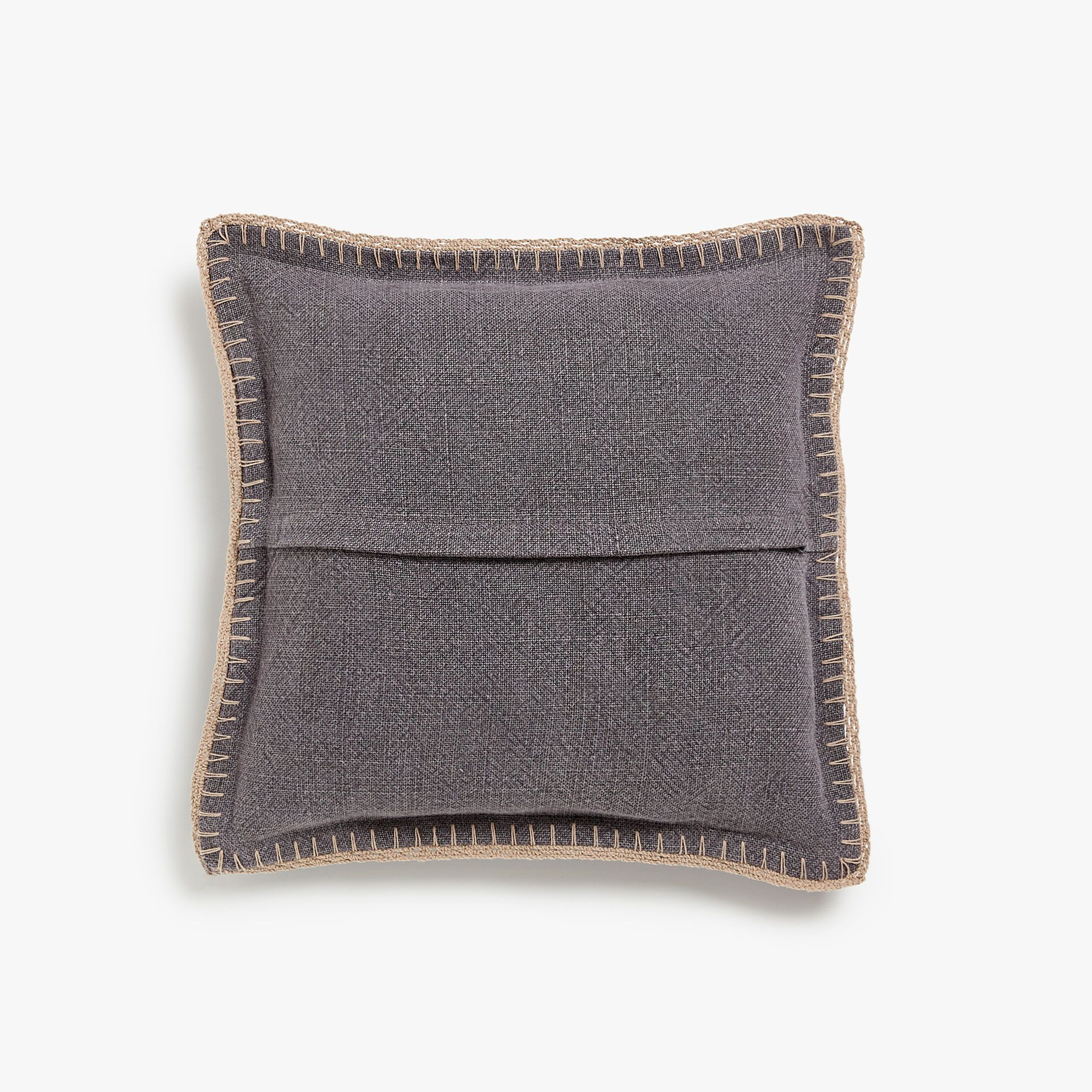 Coarse linen cushion cover with crochet border crochet borders and