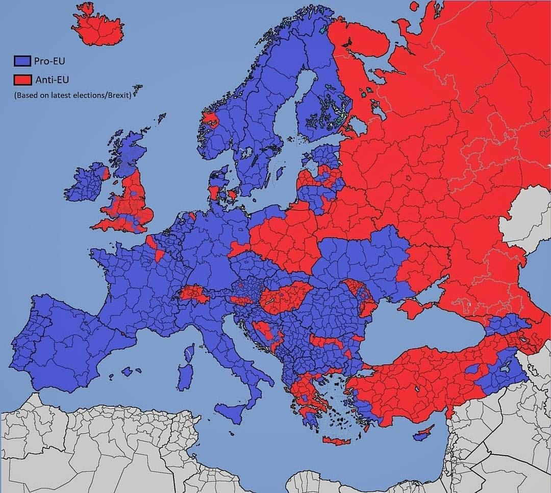 Pro and anti EU regions in Europe  and EU candidates   based on     Pro and anti EU regions in Europe  and EU candidates   based on