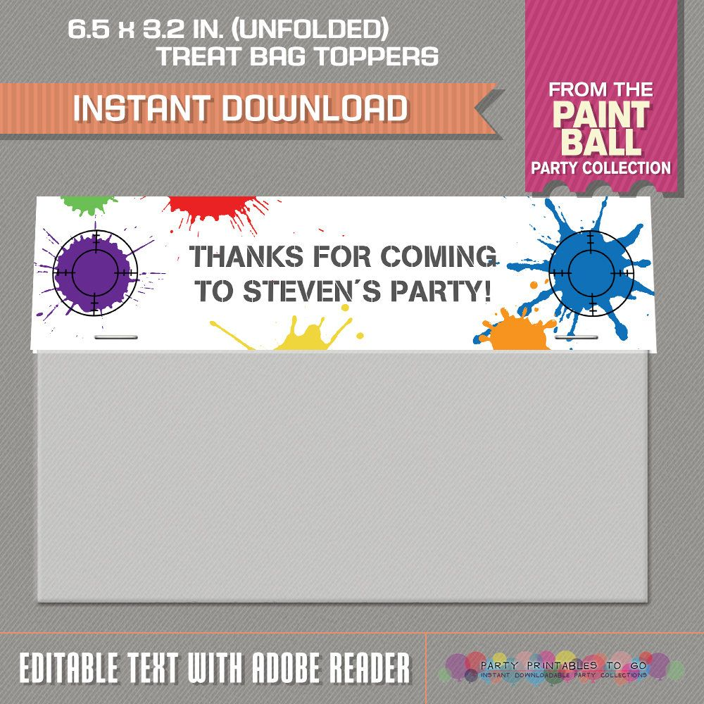 Paintball Party Wide Treat Bag Toppers - Paintball Bag Labels ...