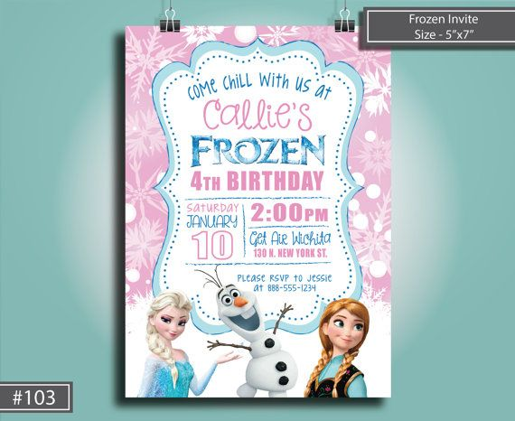 Frozen Birthday Invitation, Frozen Invite, Elsa and Anna Invite - invitation birthday frozen