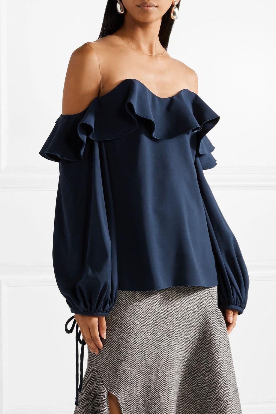 Oscar de la Renta Tulle paneled stretch silk top