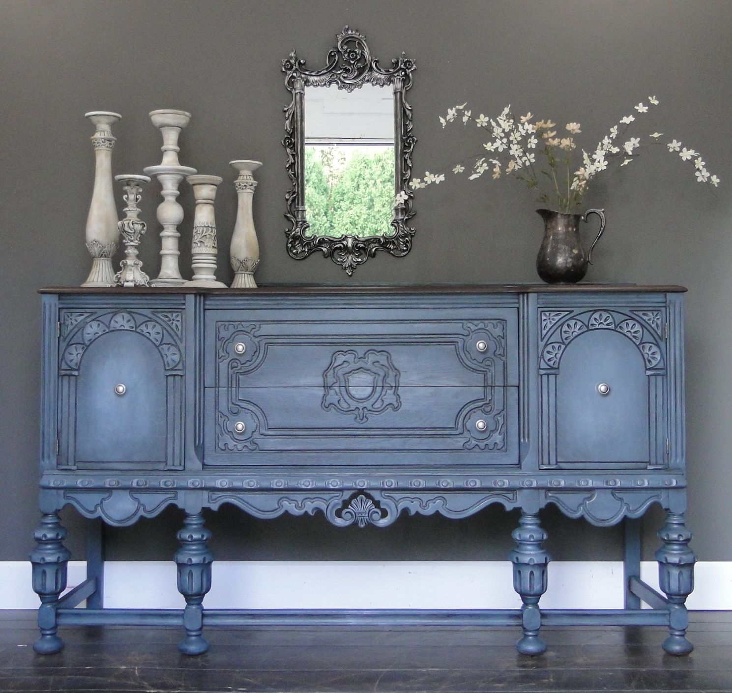 Antique glass flower carvings sideboard crown french furniture - Stormy Ii Blue Gray Carved Oak Buffet Sideboard With Dark Stained Top Modern
