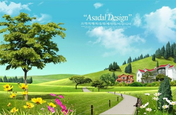 Spring Outdoor Landscape Psd Layered Material For Free Download