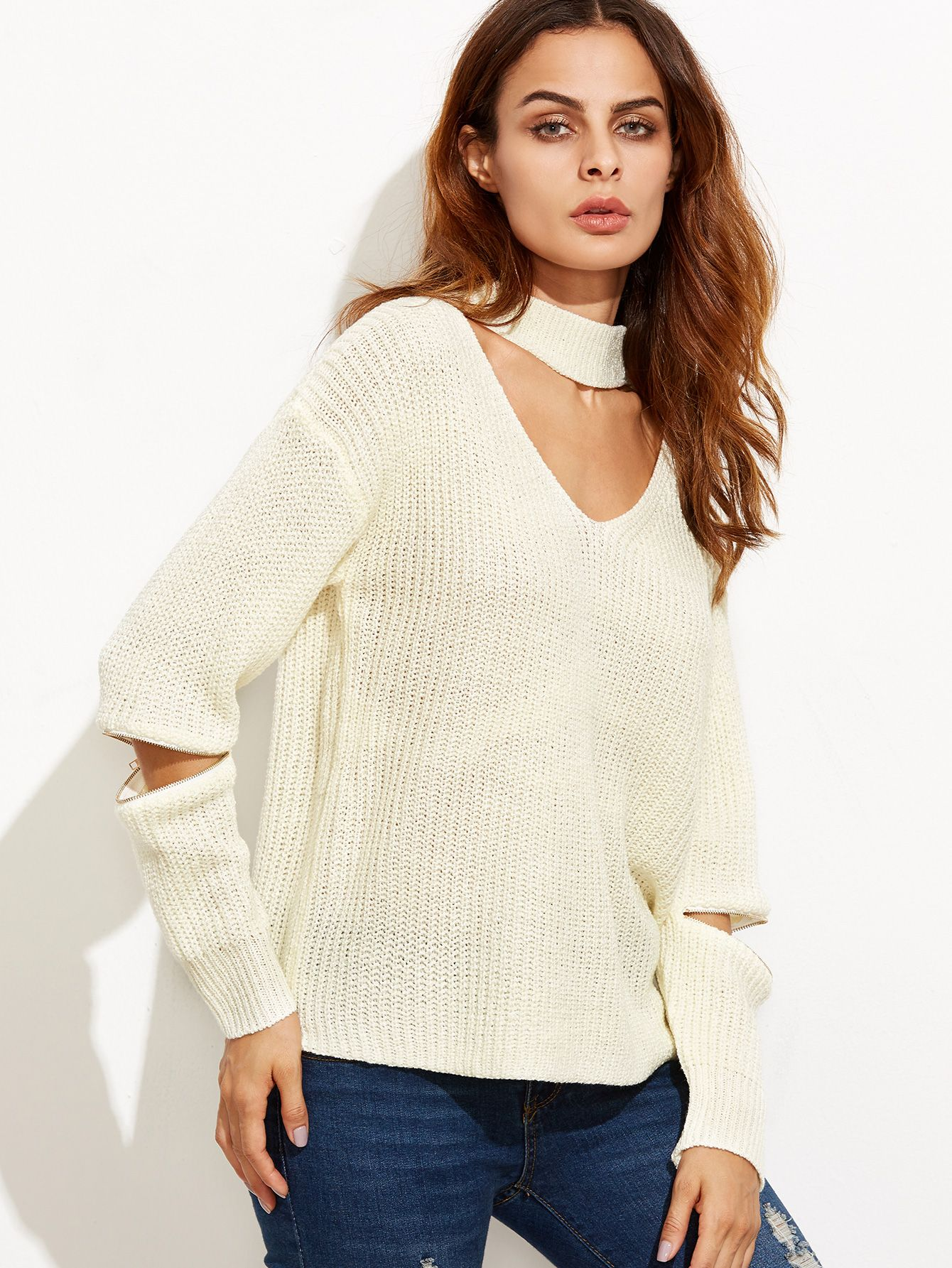Shop Beige Cut Out Loose Sweater With Zip Detail online. SheIn offers Beige Cut Out Loose Sweater With Zip Detail & more to fit your fashionable needs.