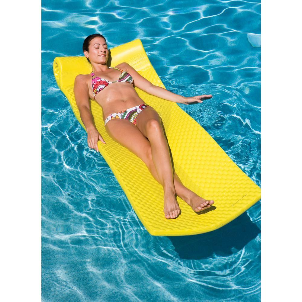 Ocean Blue Yellow Foam Swimming Pool Lounge 950003 The Home Depot Pool Lounge Foam Pool Floats Blue Ocean