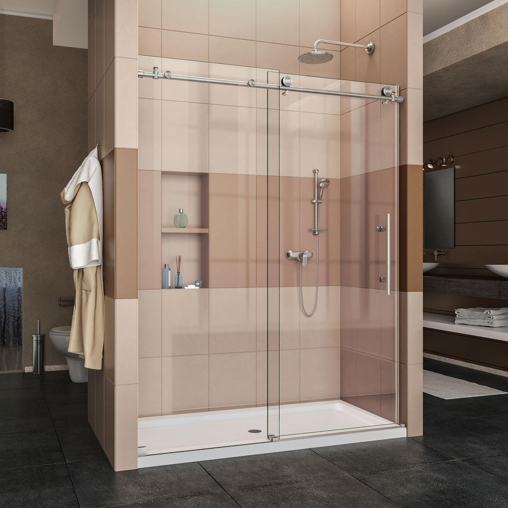 Dreamline Enigma X 36 In X 60 In X 78 75 In Frameless Sliding Shower Door In Brushed Sta Frameless Sliding Shower Doors Frameless Shower Doors Bathtub Doors