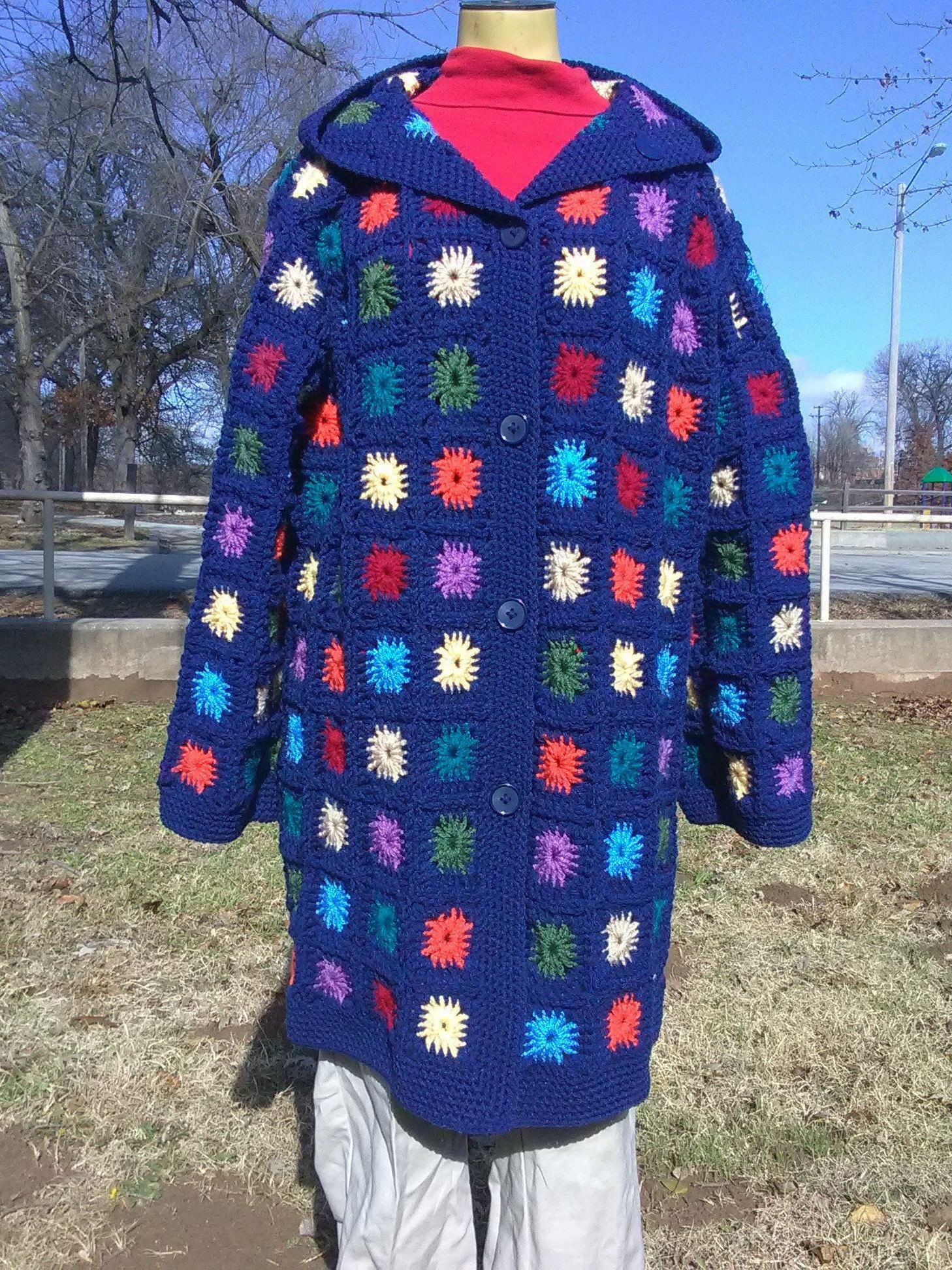 Granny Square Coat with Hood ,Crochet Granny Square Multi- Size Sweater,Navy Granny Square Sweater Coat with Hood #grannysquareponcho